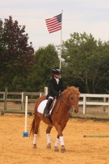 Hailey Atwell riding Daisy Duke at Heather Ridge Dressage Show to a 2nd place in her very first dressage test at 6 years old, October 2015