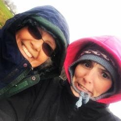 Cindy and Briana in freezing rain 2015