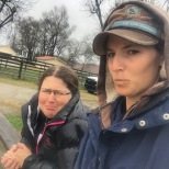 Jen and Briana coaching in the rain, 2015